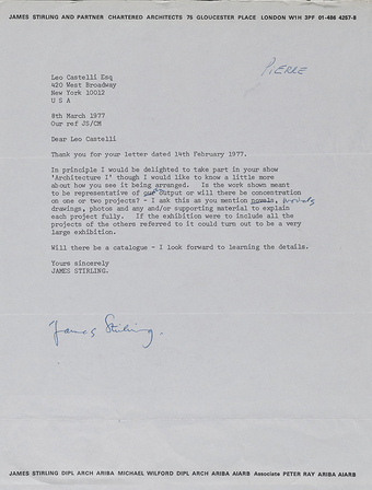 Architecture Itself and Other Postmodernist Myths includes a range of ephemera, including this letter from James Stirling to gallery owner Leo Castelli detailing his concerns over how his materials would be presented in the 1977 Architecture I exhibition.