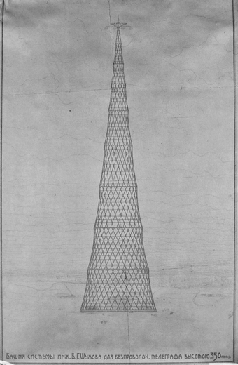 The Hyperboloid Tower Project of 350 metres by Vladimir Shukhov of 1919