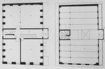 Left: Second floor plan of a house (1) Stair Lobby, (2) Room, (3) Toilet, (4) Passage; and Right: Third floor plan (1) Bay window, (2) Hall, (3) Balcony