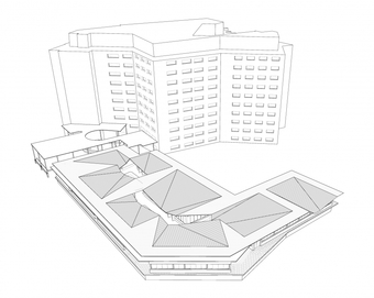 Site axonometric showing existing eight-story college building