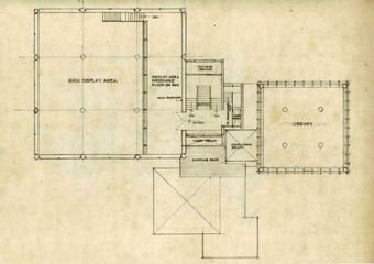 First Floor Plan: Main Display Area, Library and ancillary areas