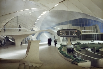 Architectural design by Eero Saarinen. The Trans World Flight Center remains one is his most renown designs