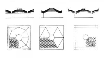 Escorts Factories roof alternatives, (1) Octagonal dome (left), (2) Hexagonal  dome and (3) Radial dome (right)