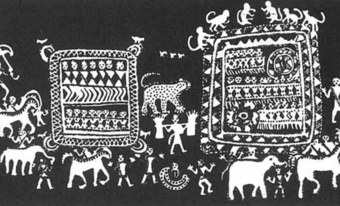 The Saora tribals of Orissa draw a 'house of the gods', comprising a whole universe of creatures and vegetation.