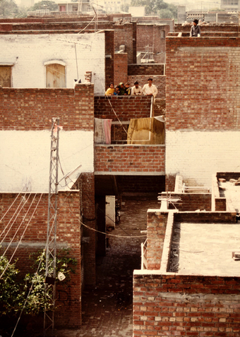 All units have private courtyards open to the sky, photograph from 1979-80