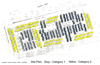 Site Pay, showing Category 1 housing in Grey and Category 2 in Yellow