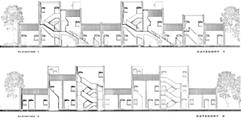 Elevations: category 1 housing (top) and category 2 housing (bottom)