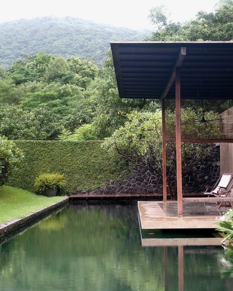 The lap pool of Utsav House, built by the architect Bijoy Jain in 2008 in Alibag, a cluster of coastal villages just outside of Mumbai, India. In the '90s, Jain spent time there reconnecting with a non-Western idea of architecture