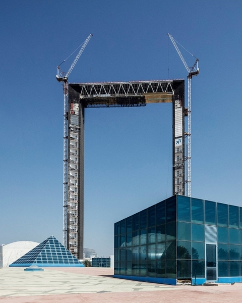 The Dubai Frame towers over the other structures in Za'abeel Park.