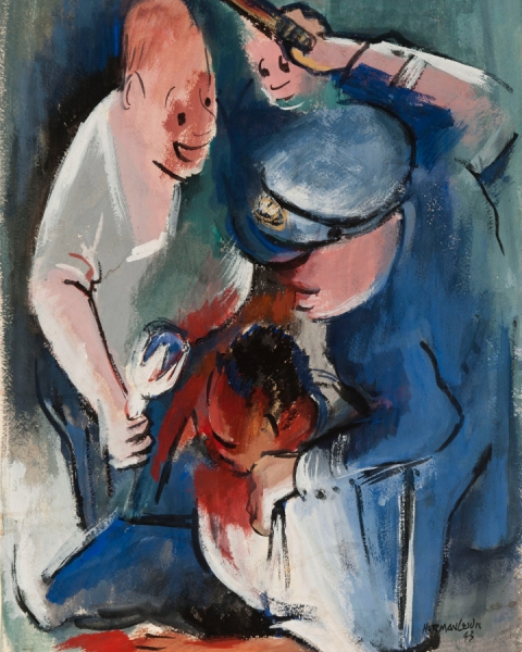 "Norman Lewis ""Untitled (Police Beating)"" (1943) watercolor, ink, and graphite on paper, 20"" x 13 7/8"", signed and dated,"