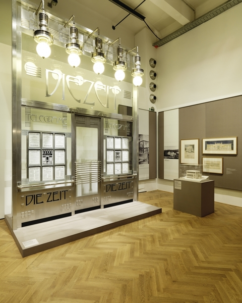 "MAK Exhibition View, 2014  WAYS TO MODERNISM. Josef Hoffmann, Adolf Loos, and Their Impact   n the front: Otto Wagner, Façade reconstruction of the ""Die Zeit"" dispatch office, 1902   Following plans by Alfred Krischanitz and Otto Kapfinger, 1985"