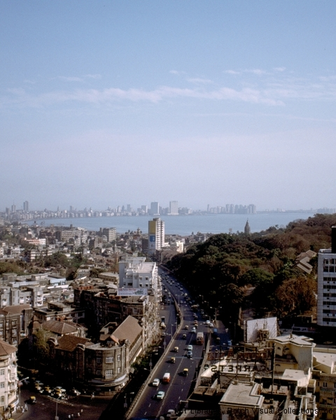 Kanchanjunga Apartments; general view, view from the building to the Arabian Sea, 1985