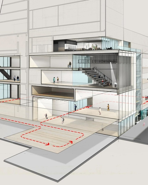 A north/south view of a rendering of MoMA looking east along Fifty-Third Street
