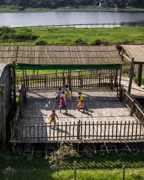 The Arcadia Education Project in Bangladesh, designed by Saif Ul Haque Sthapati, is a bamboo structure incorporating a pre-school, hostel, nursery and vocational training center