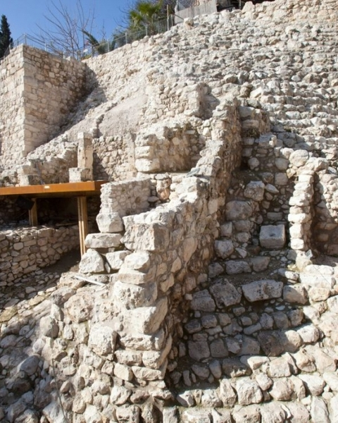 The stepped stone structure (in the bible: Millo) in the City of David, Jerusalem, atop of which King David supposedly built his palace.