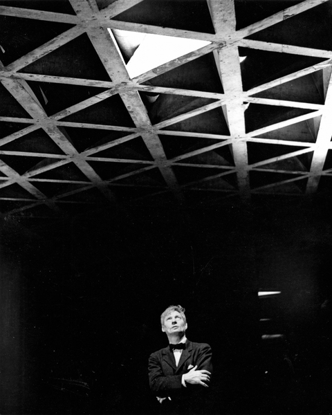 Louis Kahn in the Yale University Art Gallery.