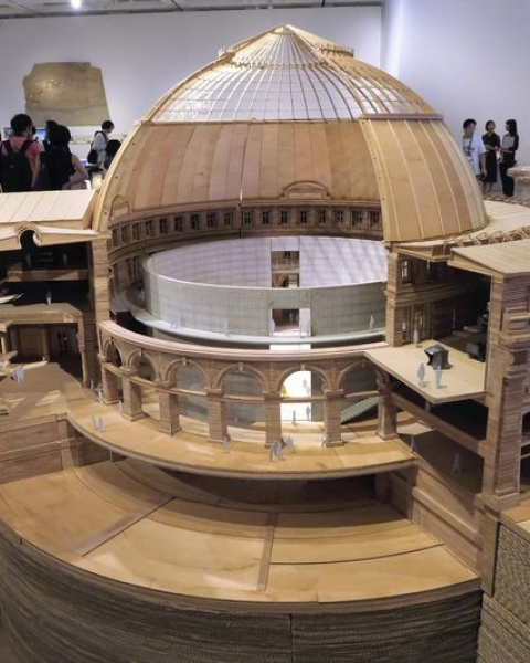 "A model of the Bourse de Commerce in Paris is displayed at ""Tadao Ando: Endeavors"" exhibition at The National Art Center, Tokyo."