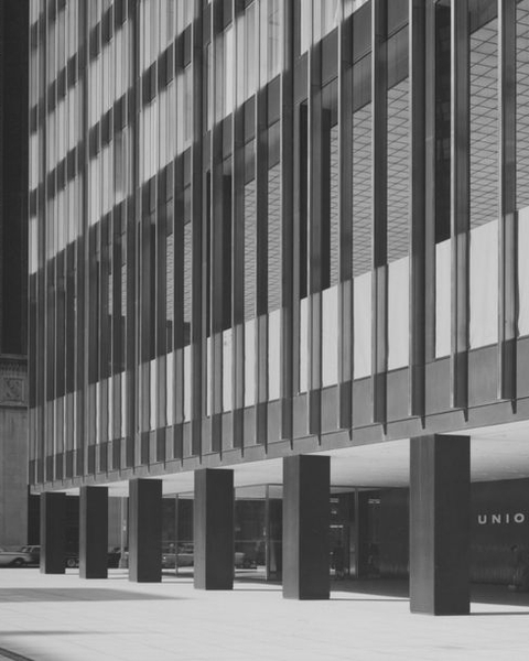 The Union Carbide building, constructed by Skidmore Owings & Merrill with Natalie de Blois as senior designer