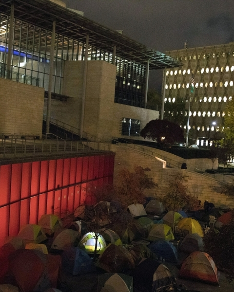 Community members and activists slept in tents along Fourth Avenue in downtown Seattle outside of City Hall during an overnight action advocating for the head tax. November 2017