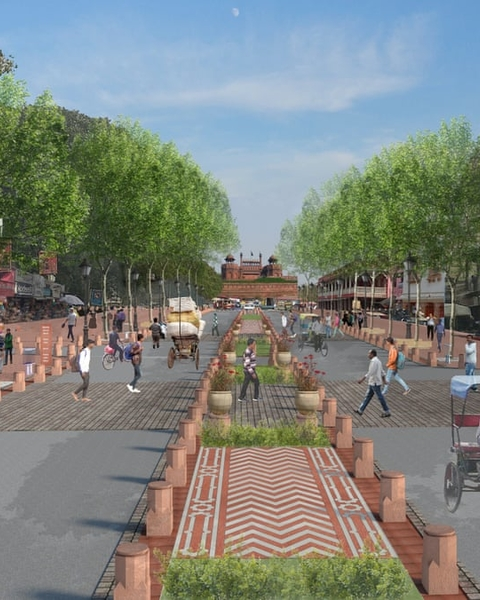 How the architects envisage the view towards the Red Fort in a transformed Chandni Chowk.
