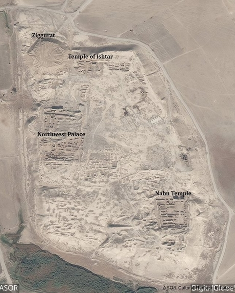 This DigitalGlobe satellite photo from November 4, 2016 shows the extend of destruction with heavy machinery tracks in Nimrud's Temple of Ishtar and the area where the Ziggurat ruin once stood.