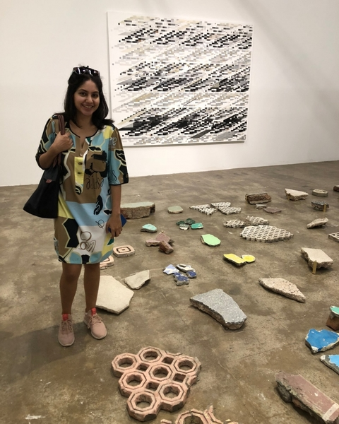 A few images: Tanya's install had wall and jali fragments from demolished New Delhi 1960s buildings (including a Def Col copy of my dad's Rabindra Bhavan Jali).