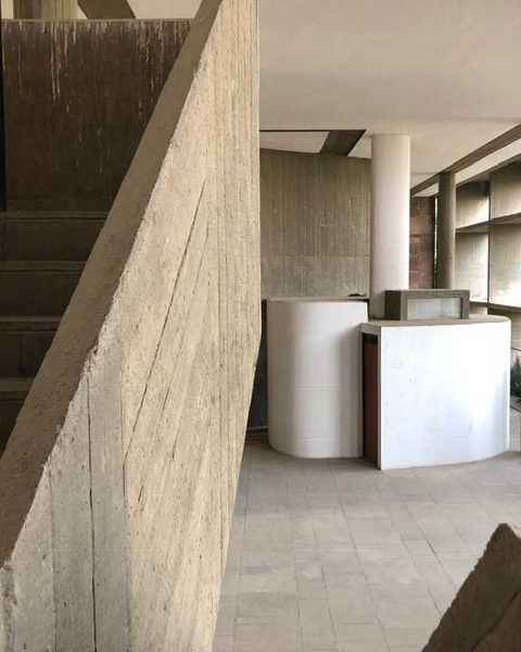 Foyer to the Auditorium, Mill Owners Building, Ahmedabad, Le Corbusier