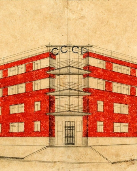Drawing of a proposed residential house for Moscow, done in 1926 by M. Motylyov.