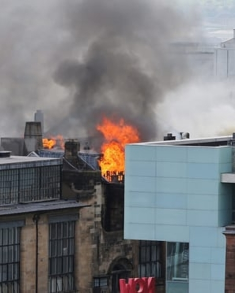 Flames on the Charles Rennie Mackintosh building