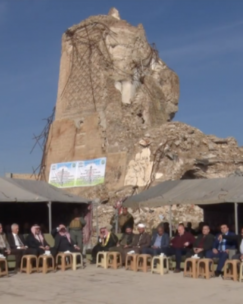 The ruined Great Mosque of Al-Nuri welcomes visitors for the cornerstone ceremony, December 17, 2018