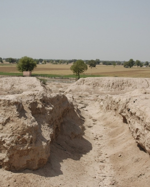 An excavated street at the Indus site of Kalibangan, a Bronze Age settlement that sits right along the Ghaggar-Hakra paleochannel, visible in the background