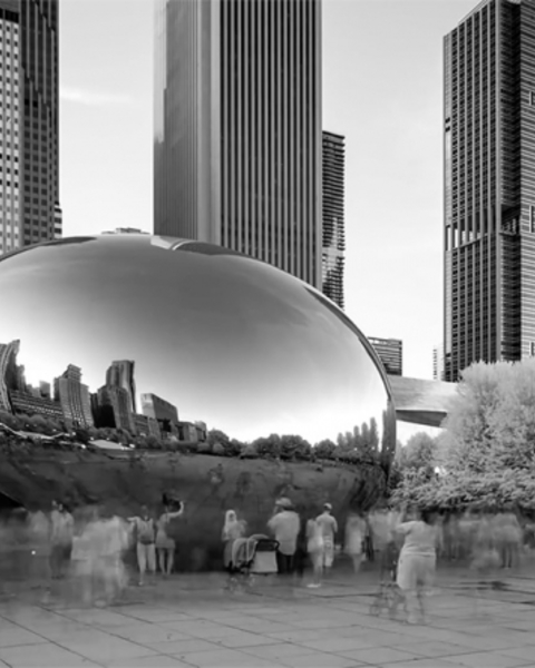 "A screenshot of the scene in the NRA video that uses Sir Anish Kapoor's ""Cloud Gate"" for roughly a second."