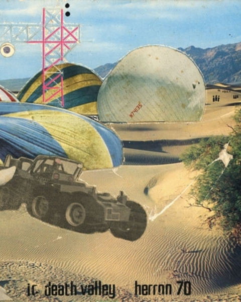 """Ron Herron (Archigram), """"Instant City, Death Valley,"""" 1970. Collage, ink, letraset on photo, on mountboard, 5 ½ x 8 ¾ inches."""