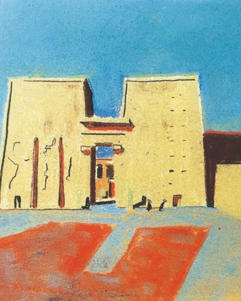 Louis Kahn's pastel image depicts the Temple of Horus, Egypt, circa 1951.