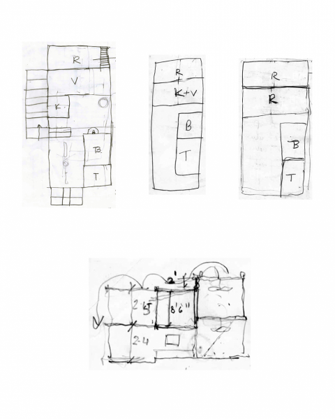 The client's sketches for the house, from left to right top, ground, first and second floor plans and bottom, section