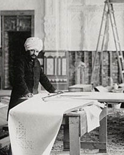Bhai Ram Singh working in the Durbar Hall, Osborne House, on the Isle of Wight, England