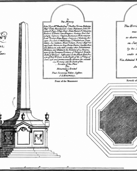 Figure 2. Holwell's plan for his monument and inscription (source: Holwell 1774).