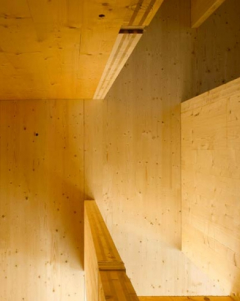 Construction shot from London's Murray Grove, the world's first multistory building with walls, floors, stairs, and elevator cores constructed entirely from mass timber Construction shot from London's Murray Grove, the world's first multistory building wi