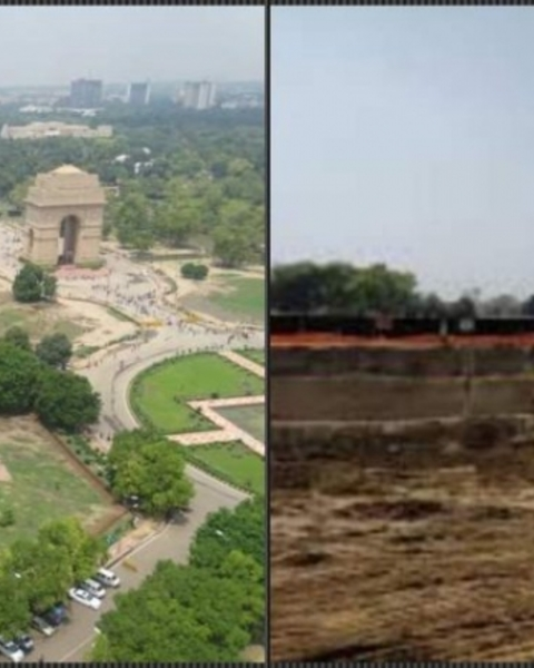 On the left, an image of the site shared by the Ministry of Defence for the global design competition, and on the right, a picture of excavation work at the India Gate site, as shared by the winning team's Facebook page.