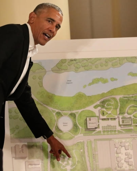 Former President Barack Obama explains some of the renderings of the new library.