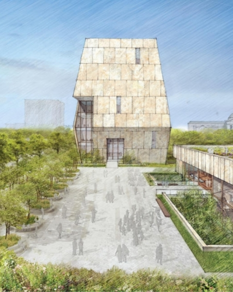 The design for the Obama Presidential Center in Jackson Park was unveiled May 3, 2017.