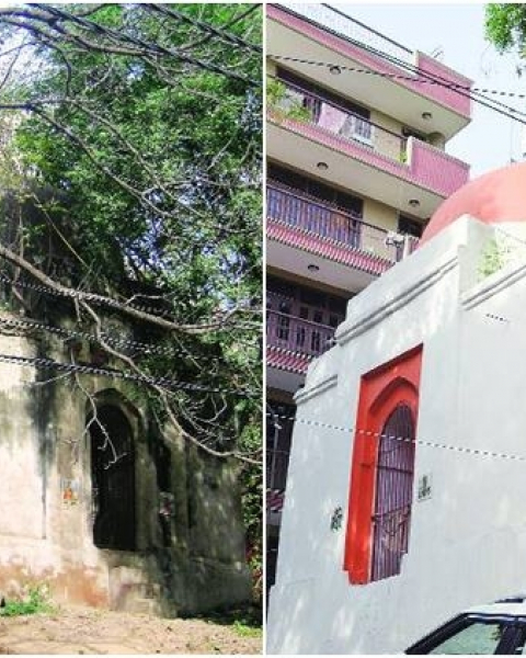 (Before and after) Gumti, a small domed tomb in Safdarjung Enclave's Humayunpur village.