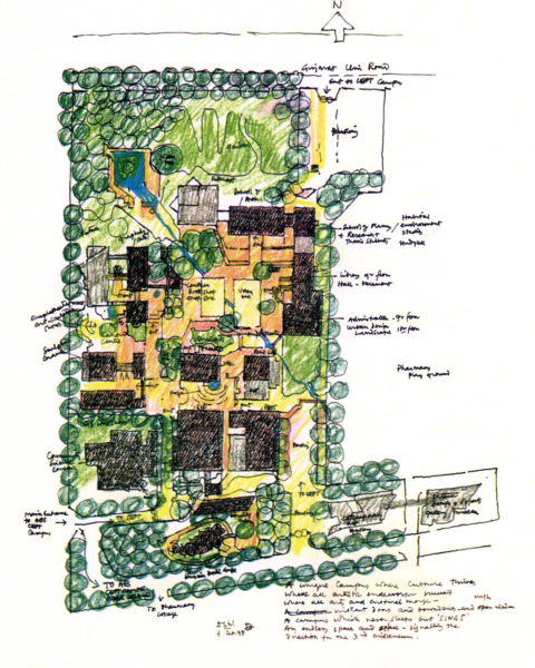 B.V. Doshi, (signed) campus masterplan sketch, 3rd Oct, 1998