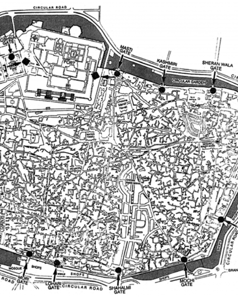 Map of Walled City of Lahore
