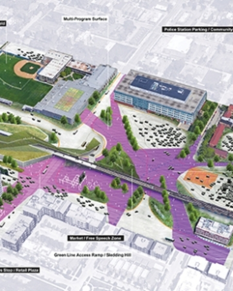 At the Illinois Institute of Technology, existing parking areas (in the image above) are reimagined here as an integrated multiuse space where AVs cluster.