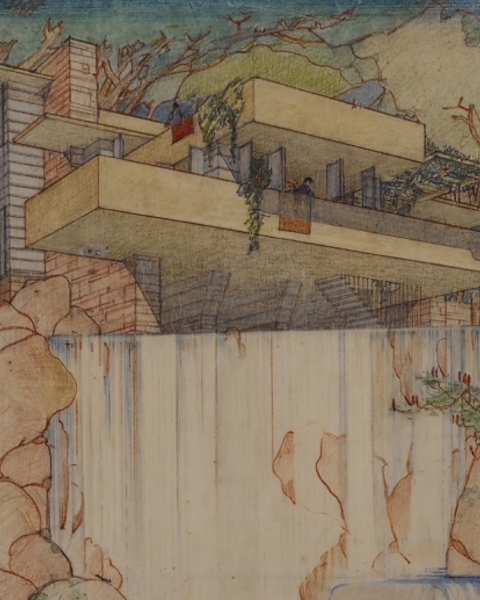 Perspective from the south of Fallingwater (Kaufmann House), Mill Run, Pennsylvania (1934–37), Frank Lloyd Wright. The Frank Lloyd Wright Foundation Archives, New York.