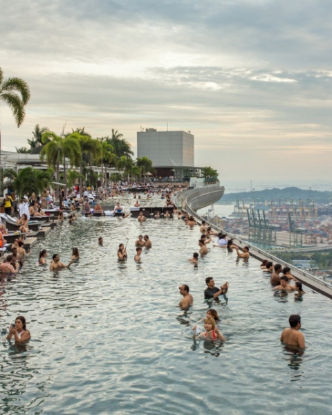 The infinity pool at Marina Bay Sands Resort offers one of the most Instagrammable views in the world.