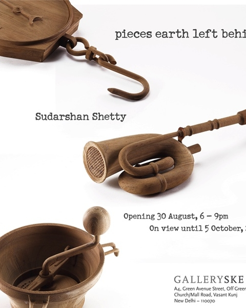 Poster, pieces earth left behind by Sudershan Shetty at GallerySKE, New Delhi 2019