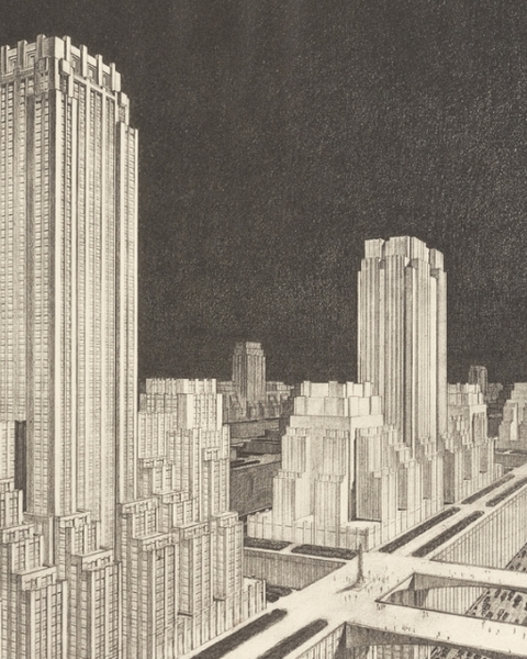 "Francisco Mujica, ""The City of the Future: Hundred Story City in Neo-American Style"" (1929) from Francisco Mujica, History of the Skyscraper (Paris, 1929), pl. 134."