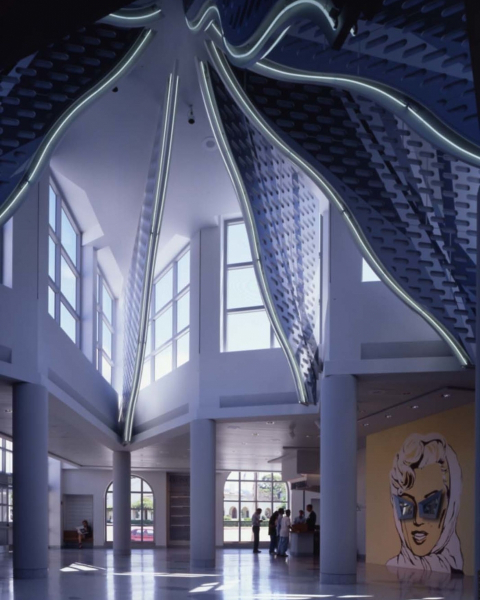 Axline Court, the Venturi Scott Brown-designed atrium at MCASD.
